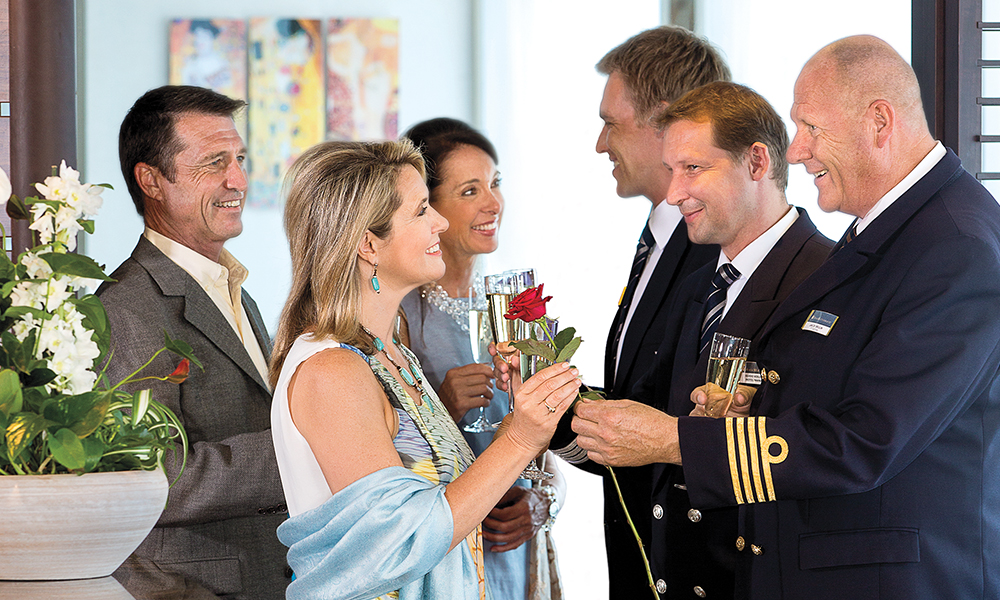 danube river golf cruise golfers being welcomed onboard by ship's captain